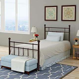 Metal Bed Platform Frame with Steel Headboard and Footboard Mattress Foundation Bedroom Furniture Box Spring Replacement for Kids Adults Victorian Style … (Antique Bronze, Twin)