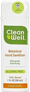 CleanWell Botanical Hand Sanitizer Spray, Orange Vanilla, 1 fl oz (1 PK) - Travel Size, Alcohol Free, Antibacterial, Kid Friendly, Plant-Based, Nontoxic, Cruelty Free, Moisturizing Formula