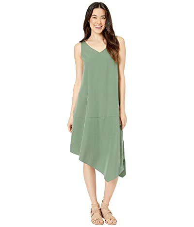 Eileen Fisher Petite Sandwashed Tencel Asymmetrical Dress (Nori) Women