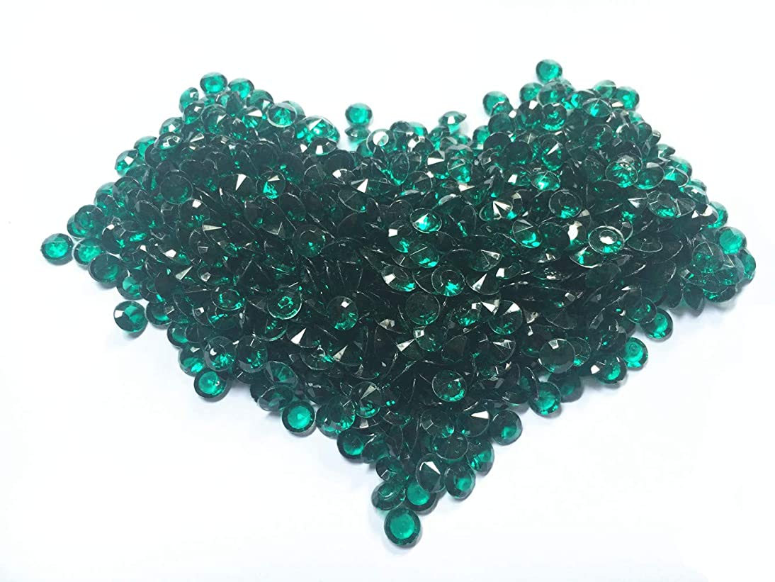 Briliant Shop 8mm Acrylic Color Faux Round Diamond Crystals Treasure Gems for Table Scatters, Vase Fillers, Event, Wedding, Arts & Crafts (1000 pcs) (Emerald Green)