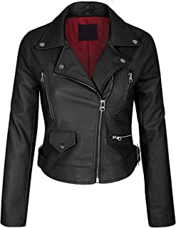 17ccf8597de1 KOGMO Women s Faux Leather Zip up Everyday Bomber Jacket