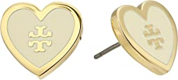 Tory Burch - Lacquered Logo Heart Stud Earrings