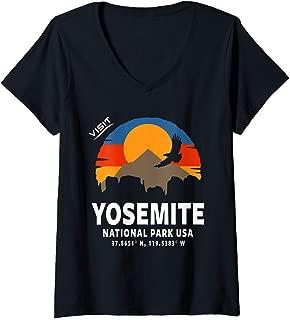 Womens Vintage Yosemite National Park, Retro Yosemite National Park V-Neck T-Shirt