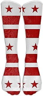 Unisex Puerto Rico Flag Grunge Knee High Long Socks Athletic Sports Tube Stockings For Running,Football,Soccer