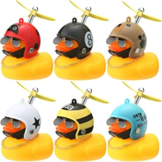 Sumind 6 Pieces Rubber Yellow Duck Toy Car Bike Ornaments Yellow Duck Car Dashboard with Propeller Helmet Cool Sunglasses ...
