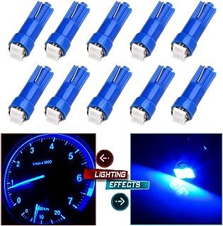 CCIYU 10 x T5 Ultra Blue 58 70 73 74 Dashboard Gauge 2SMD LED Wedge Lamp Bulb Light For 2009-2013 Toyota Tundra Sequoia 4.6L 4.7L 5.7L/ 2009-2012 Mitsubishi Eclipse 3.8L/2.4L