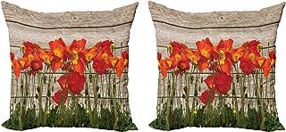 ABAKUHAUS Rústico Set de 2 Fundas para Cojín, Blooming Flores de Amapola, con Estampado en Ambos Lados con Cremallera, 60 cm x 60 cm, Marrón Anaranjado