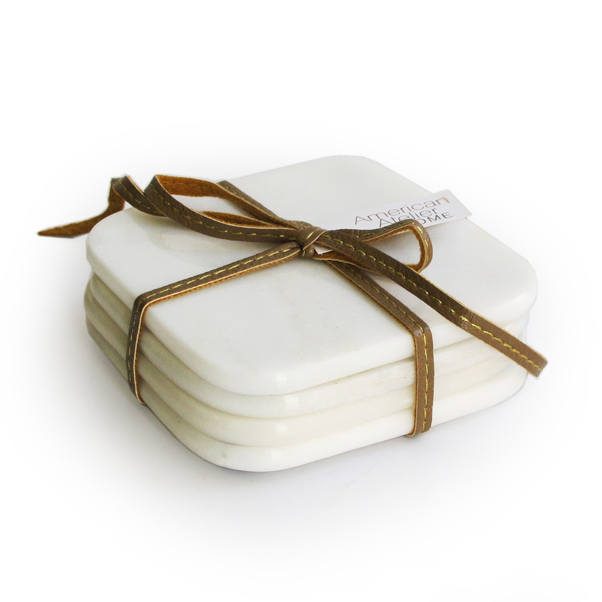 American Atelier Marble Coasters with Ribbon, White, Set of 4