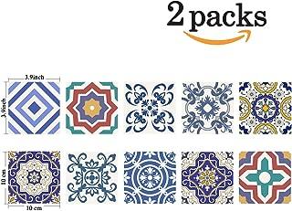 Poromoro Spanish Portuguese Azulejo Style Peel and Stick Tile Stickers Set of 20 pcs (3.9x3.9, E)