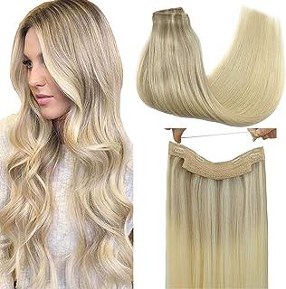 GOO GOO Halo Hair Extensions Human Hair Ombre Ash Blonde to Golden Blonde Mixed Platinum Blonde 100g 20 Inch Flip Extensio...