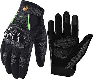 Street Bike Full Finger Motorcycle Gloves 09 (Large, black/green)