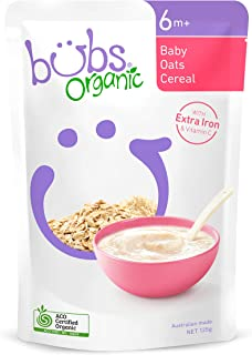 Bubs Organic Baby Oats Cereals, 125 g