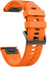 Notocity Compatible Fenix 5X Band 26mm Width Soft Silicone Watch Strap for Fenix 5X Plus/Fenix 6X/Fenix 6X Pro/Fenix 3/Fenix 3 HR/Descent MK1/D2 Delta PX/D2 Charlie-Orange