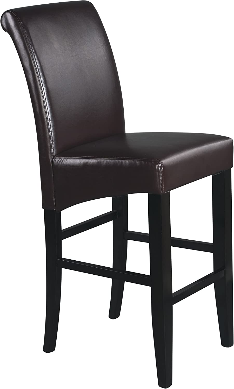 Office Star Bonded Leather 30  Tall Parson's Bar Stool with Finish Legs, Espresso