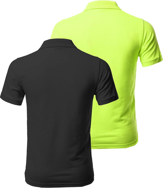 Mens Solid Short Sleeves Basic Premium Quality Side Slit Polo Shirt