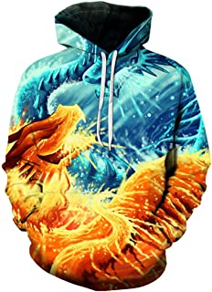 Ice Fire Dragon Printed 3D Pullover Skateboard Hip Hop Hooded Jackets