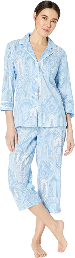 Pointed Notch Collar Capris Pajama Set