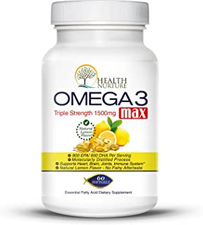 HEALTH NURTURE Fish Oil Omega-3 **Maximum Strength 1500mg (800 EPA/600 Dha) ** Order Now and Save 50% Off! ** Pharmaceutic...