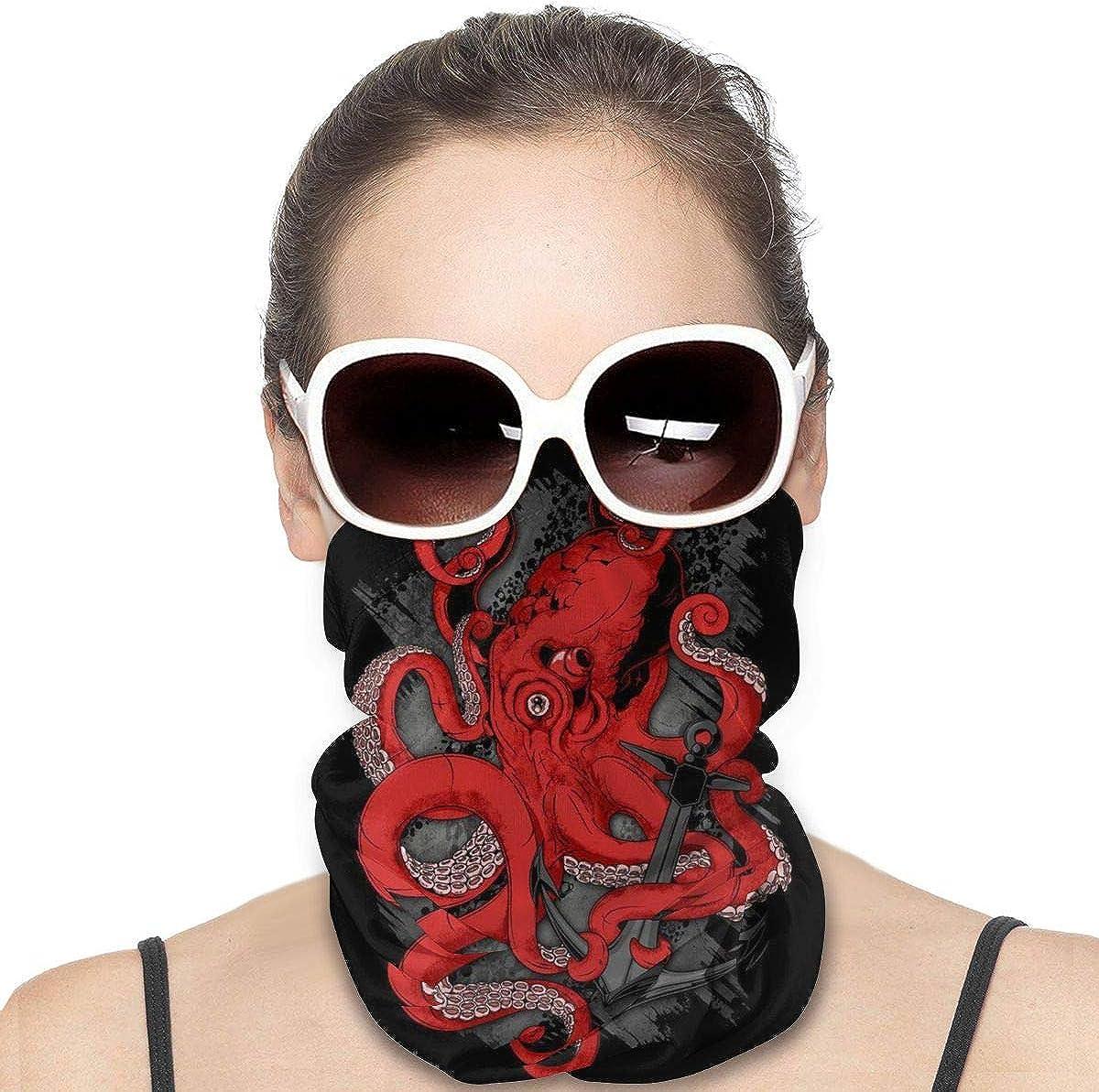 Headwear Face Mask Sea Monster Octopus Kraken with Tentacles Casual Headband Bandana Head Wrap Neck Gaiter Scarf