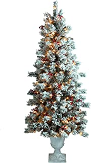 ABUSA Prelit Potted Pencil Christmas Tree 6.5 Feet with Pine Cones Berries 200 LED Lights 428 Branch Tips Flocked Slim Xmas Tree