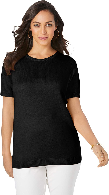 Jessica London Women's Plus Size Fine Gauge Crewneck Shell Short Sleeve Sweater