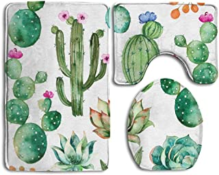 Cacti Memory Foam Shower Carpet Decor Desert Cactus Bath Mat Succulent Pattern Bathroom Rug