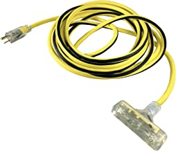 US Wire and Cable 76100 12/3 100ft Heavy Duty with Pow-R Block Extension Cord, Yellow