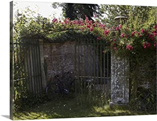 GREATBIGCANVAS Gallery-Wrapped Canvas Pink Climbing Rose Over Wrought Iron Gates by 24