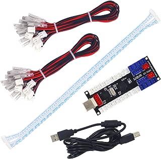 SJ@JX 2Player Arcade USB EncoderBoard ZeroDelay Game Controller DIY Kit 20x Button Cable2X Joystick Cable forRetroPiePCMAMERaspberryPi
