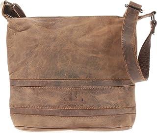 LECONI Umhängetasche Schultertasche Damentasche natur Ledertasche Vintage-Look Handtasche Damen Leder 29x27x10cm LE3076