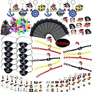 Pirate Party Favor Kit,Pirate Key Chain Rings Bracelets Tattoos Pirate Captain Eye Patches Pirate Treasure Organza Gift Bag for Kids Birthday Bag Filler Toys Gift for Boys(84 PCS)