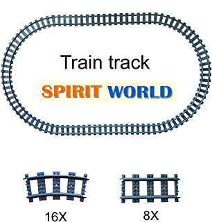 24X Train Tracks Non-Powered City Railroad Compatible Major Brands Building Block Toy Gifts