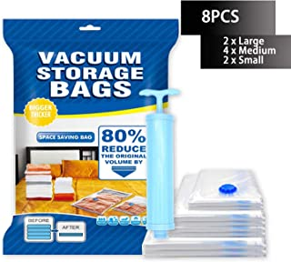 BZ Premium Vacuum Storage Bags 8 Pack 80% More Space Saver Bags for Clothes, Blankets, Comforters, Pillows - Travel Hand Pump Included Double-Zip Seal and Triple Seal Turbo-Valve for Max Space Saving