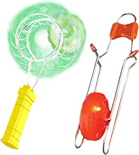 ArtCreativity Retro Light Up Kids Toys Includes 8 Inch Gyro Wheel and 8.5 Inch Rail Twister - Fun Gift for Boys and Girls - Great Sensory Toy with Spinning and Flashing Light Effects
