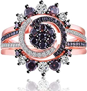 Lady Rings Coffee Cubic Zirconia Rhodium Rose Gold Black Plated Round Shape Ring Jewelry Size 6 7 8 9