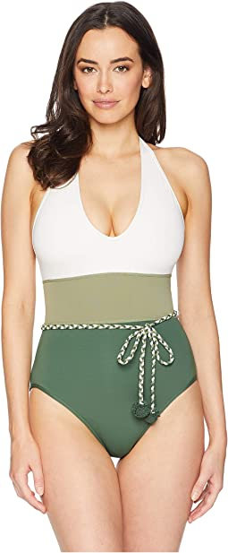 Sun Block Color Blocked One-Piece w/ Braided Belt and Removable Soft Cups