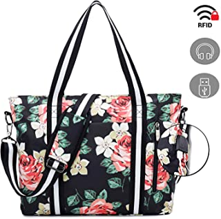 Travel Laptop Tote Bag with USB Charging Port,Womens Business Messenger Handbags,Computer Shoulder Bag Laptop Case Fits 17 Inch Notebook Black Rose