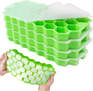 Lomodo 4 Pack Green Silicone Cube Trays 37-Ice Cube Molds with Removable Lids for Whiskey,Cocktail,Stackable