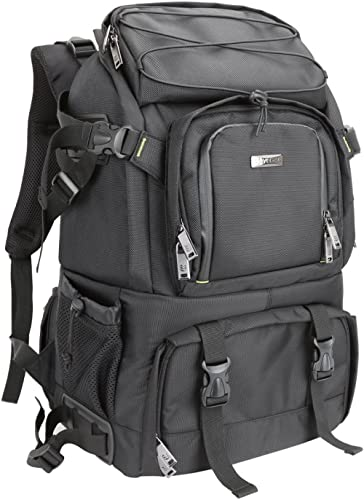 Evecase Extra Large DSLR Camera / 15.6 inch Laptop Travel Daypack Backpack Accessories Lens Gadget Bag with Rain Cove...