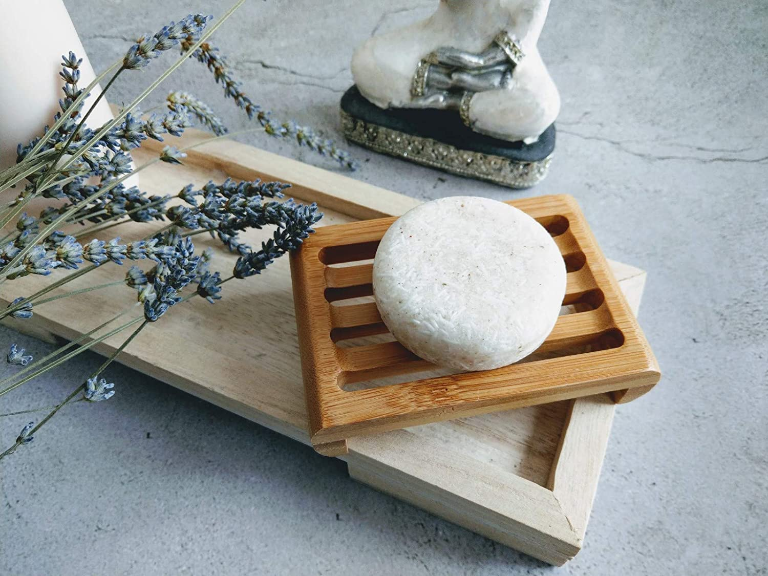 New Living Bamboo Soap Dish Eco Friendly Gift 1 Eco Product Bamboo Soap Tray 11cm x 7.5 cm