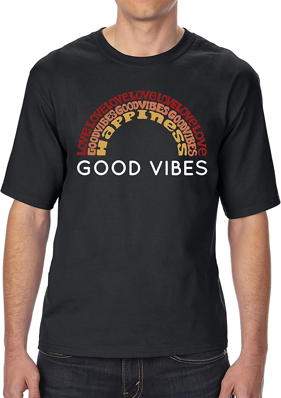 LA POP ART Men's Tall and Long Word Art T-Shirt - Good Vibes