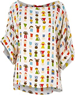 Handpicked by Birds Womens Tunics Tie Back Bell Sleeve Top Babushka - Tops