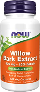 NOW Supplements, White Willow Bark 400 mg with 15% Salicin, Standardized Extract, 100 Capsules