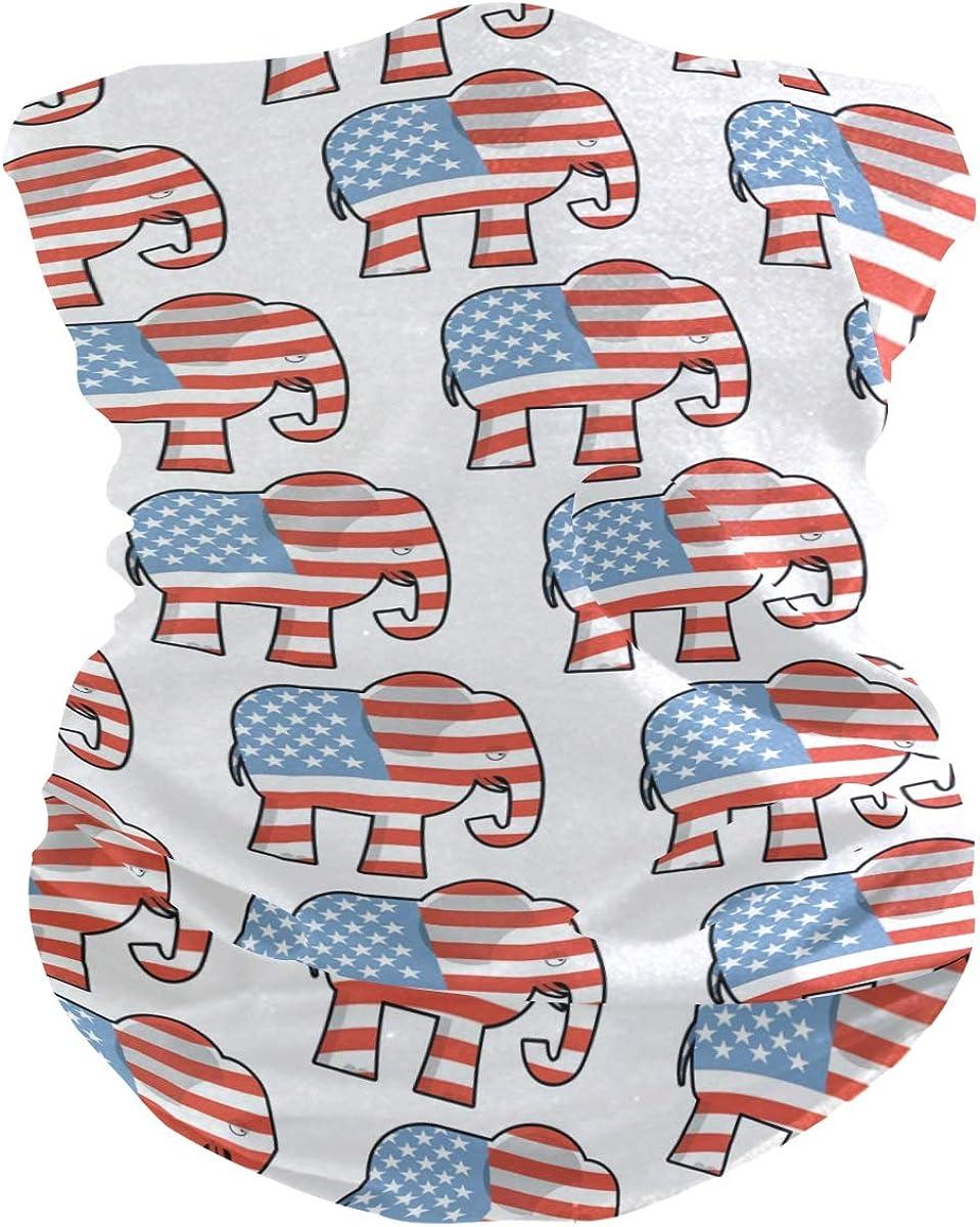 senya Neck Gaiter Face Mask, Elephant USA American Flag Face Sun Dust Mask Magic Scarf Headwear Bandana for Running Fishing Outdoor Sport