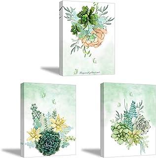 3X Canvas schilderen, PIY schilderen, groene bloem met vlinder foto, moderne uitgerekte en ingelijste muur kunst foto's vo...