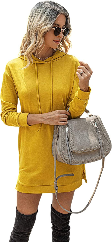 Floerns Women's Casual Solid Long Sleeve Hooded Sweatshirt Dress