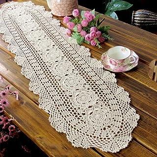 yazi Beige Flores Camino de Mesa Oval Mano Crochet manteles Individuales sofá algodón tapete para Cocina decoración 30x 120cm