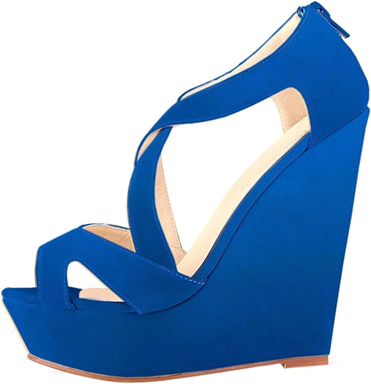 Verescha Womens Faux Suede Platform High Heels Sandals Peep Toe Wedges Wedding shoes bluee9 B(M) US
