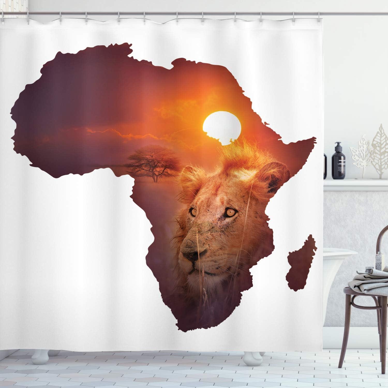 Ambesonne Wholesale Safari Shower Nashville-Davidson Mall Curtain African Art Sunse Wildlife Lion