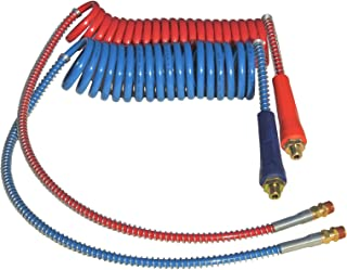 "COILED AIR SET LINE ASSEMBLY RED & BLUE TRUCK TRAILER SET WITH DURA-GRIPS, 15' LENGTH: 1 X 12"" & 1 X 40"" LEADS"